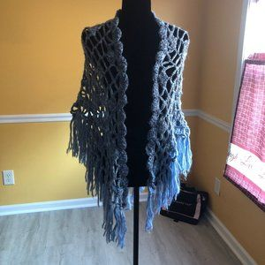 Light Blue Ombré Crocheted Shawl